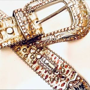 BB Simon Metallic Cowhide Leather Crystals Belt